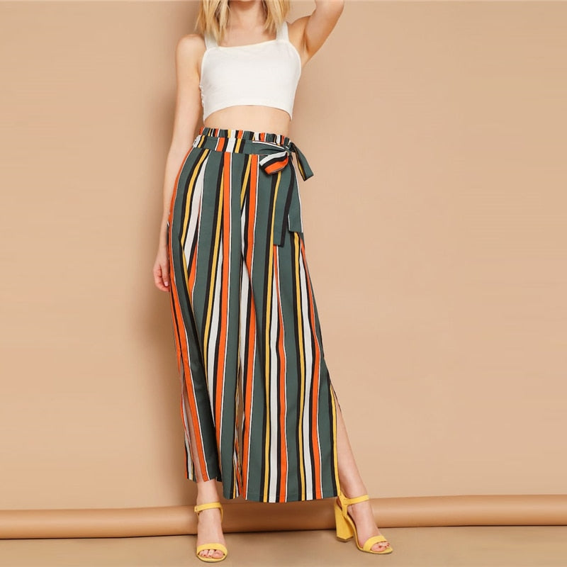 Boho Self Belted Split Side Colorful Striped Pants