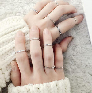 Set Simple Design Vintage Gold Silver Color Joint Rings