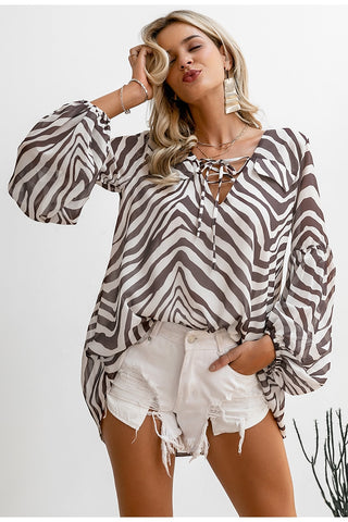 Zebra stripe printed blouse shirt