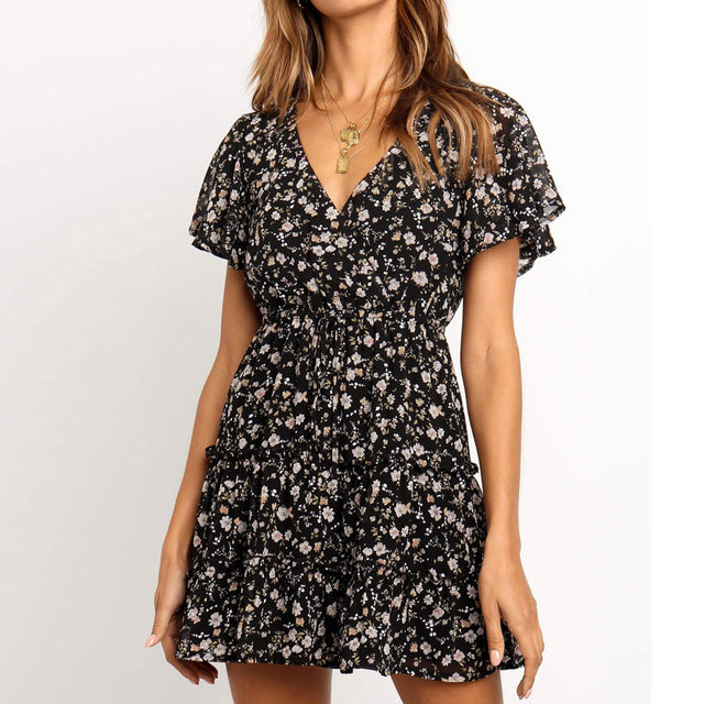 Short Sleeve Sexy Tunic Print  A-line Dress