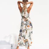 Cotton Floral Printed Asymmetrical Elegant Strapless Dress