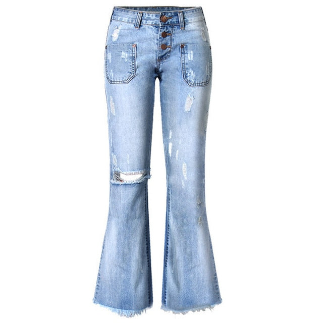 High Waist Women Flare Jeans Bell Bottom Ripped Jeans