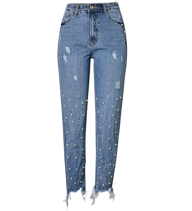 High Waist Denim Sequins Boyfriend Jeans
