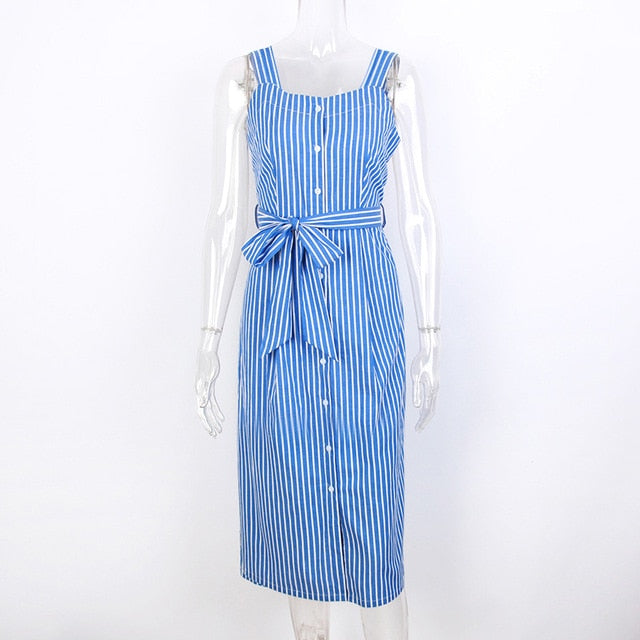 Blue Striped Bow Bandage Strap Shirt Elegant Dress