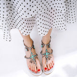 r String Bead Gladiator Sandals Woman Crystal Peep Toe Ankle Strap Flats Boho Shoes