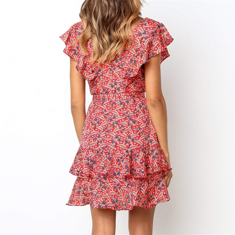 Printed Sundress Sexy neck Ruffles A-line Dress