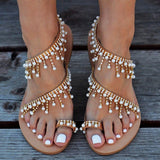 Vintage Boho Sandals Women Leather Beading Flat Sandals