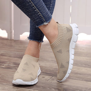 breathable air mesh summer slip on platform knitting flats soft couple walking sneakers