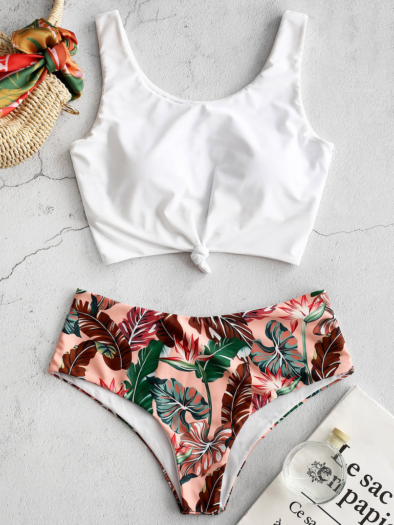 Tankini Tropical Leaf Knotted Bikini Set
