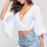 Trumpet Long Sleeve Ruffle Chiffon Crop Top