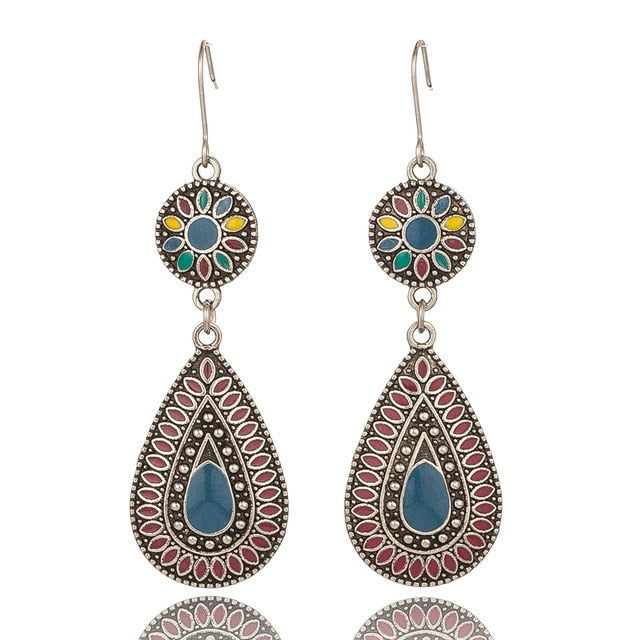 Multiple Vintage Ethnic Dangle Drop Earrings
