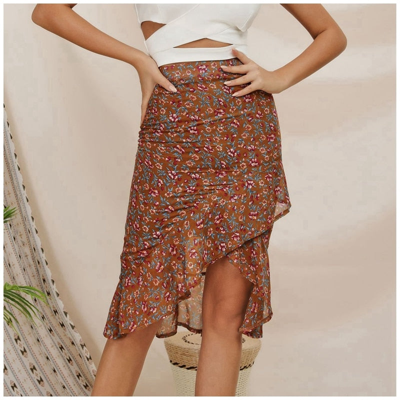 Floral Print Flounce Boho Office Lady Skirt