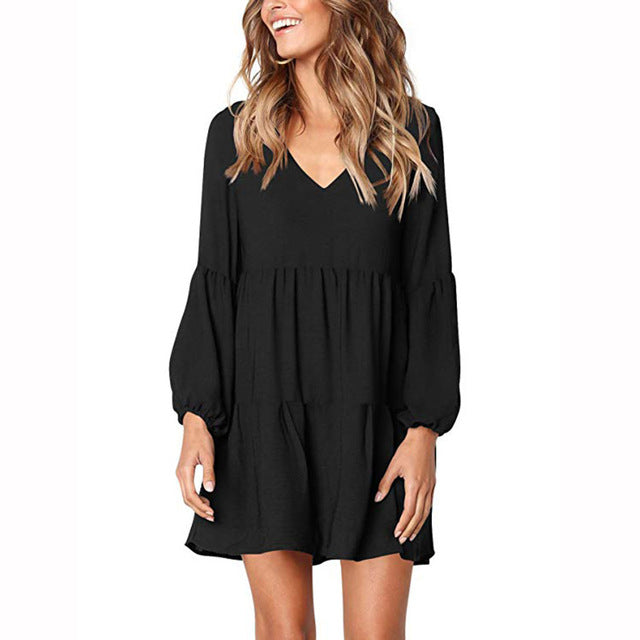 Lantern Sleeve Dress Women Sexy  Pleated Mini Dress