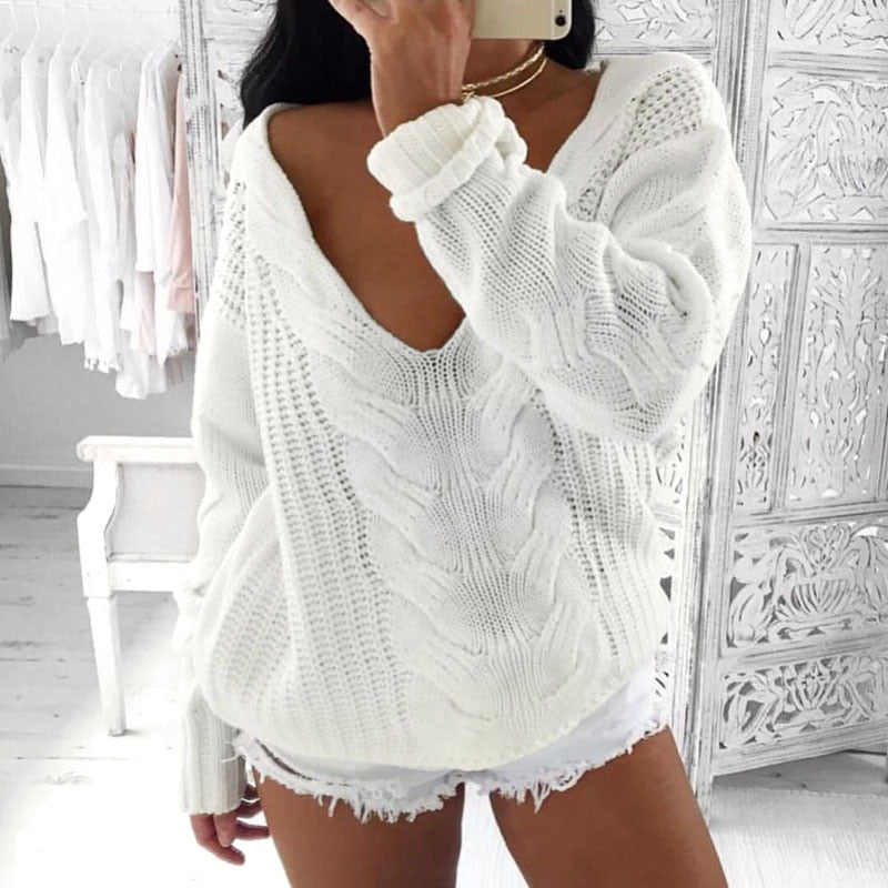 Sexy V Neck Oversized Off Shoulder Hollow Soft Warm Knitted Sweater