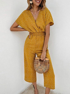 Summer High Waist Polka Dot Overalls Sleeve Rompers Jumpsuit