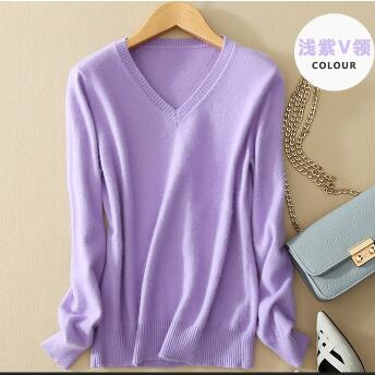 V-Neck Autumn Cashmere Wool Knit Sweater