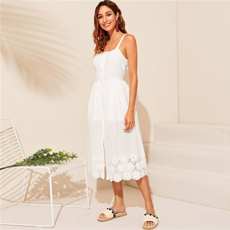 White Embroidered Eyelet Hem Button Up Summer Boho Dress