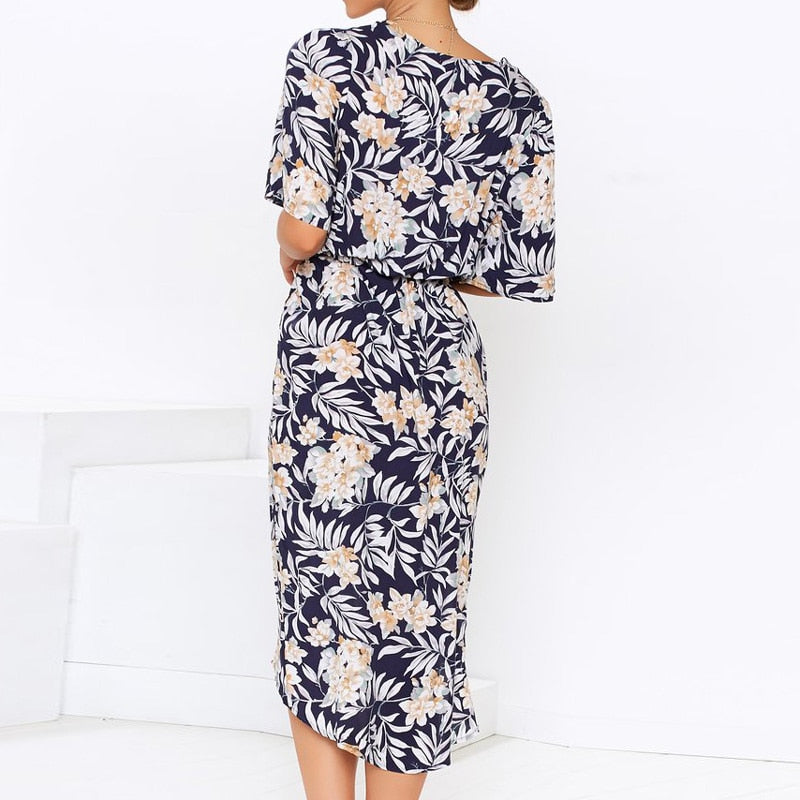 Boho Floral Print Chiffon Long Dress