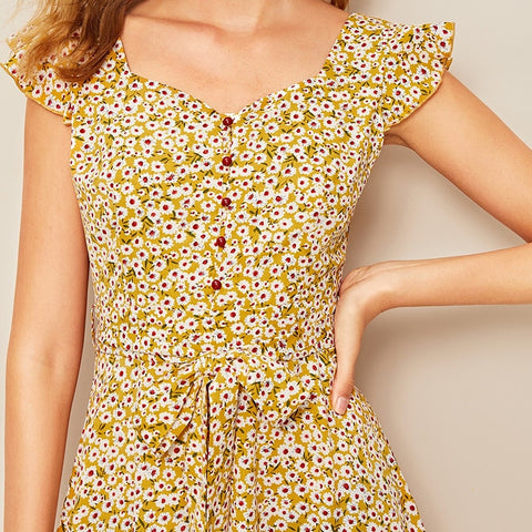 Ditsy Floral Print Ruffle Cuff Self Belted Vintage Dress