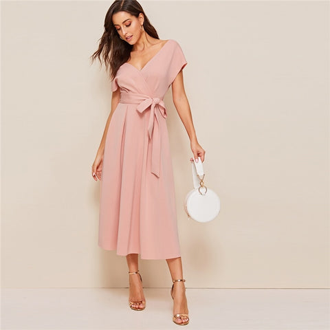 Elegant Surplice Neck Belted Flare Dress