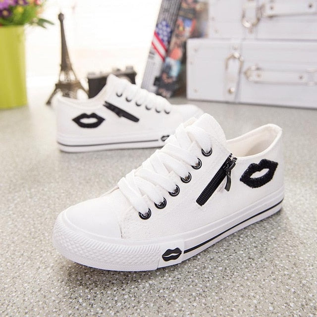 casual flats comfortable trainers zipper canvas sneakers