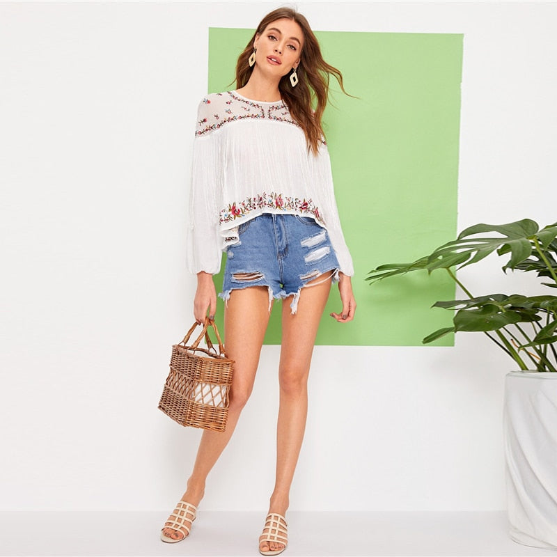 Keyhole Back Fringe Trim Flower Embroidered Boho Blouse