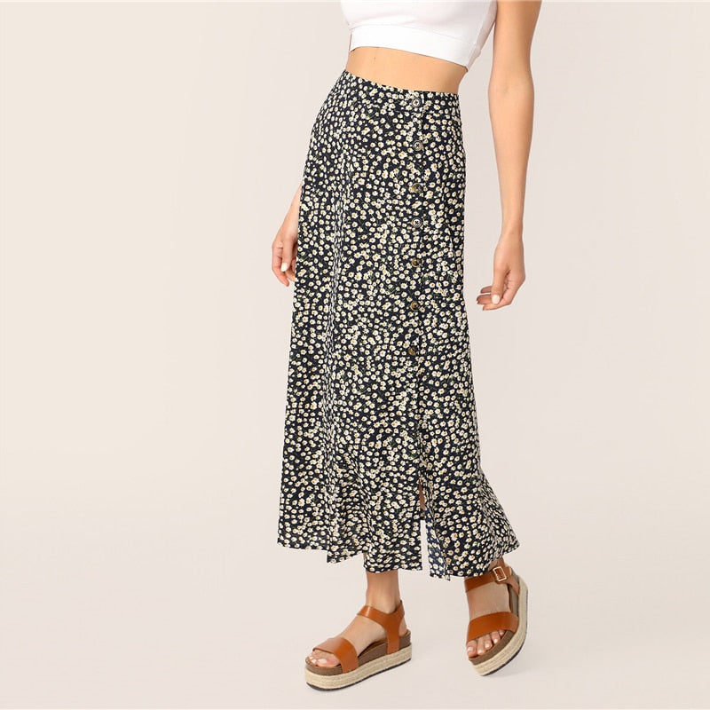 Boho Ditsy Floral Print Button Front A Line Long Skirt