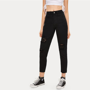 Black Ripped High Waist Crop Jeans