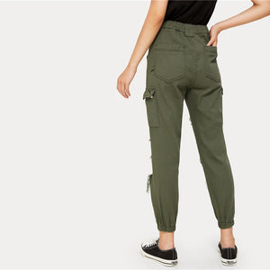 Army Green High Waist Streetwear Ripped Hole Crop Jeans