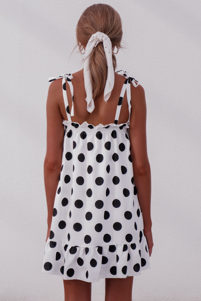 Knotted Strap Dress Girl Lovely Polka Dot Pattern Flounce Hem Ruffled Vintage Mini Dress