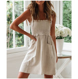 Casual Cotton Women Summer Dress Khaki Sexy Sleeveless Self-tie Linen Dress