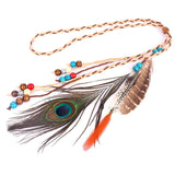 beads peacock feathers leather cord pendant hair accessories