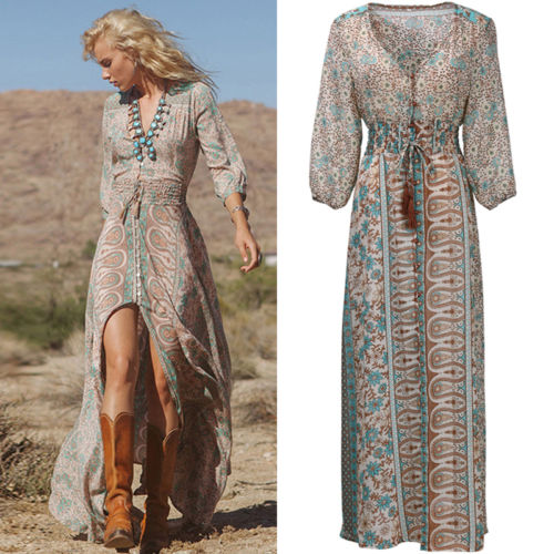 Floral Chiffon Boho Vintage Print V Neck Beach Maxi Long Dress