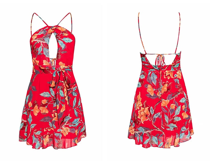 Sexy Red Halter Chiffon Boho Floral Dresses
