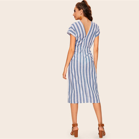 Blue Striped Drawstring Waist Short Sleeve Elegant Boho Midi Dress