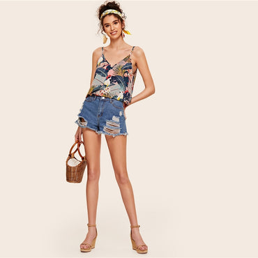 Animal Tropical Print Double  Boho Camisole Spaghetti Strap Tops