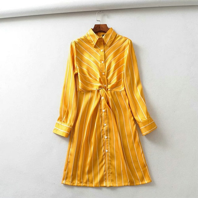 Yellow striped printed shirt dresses