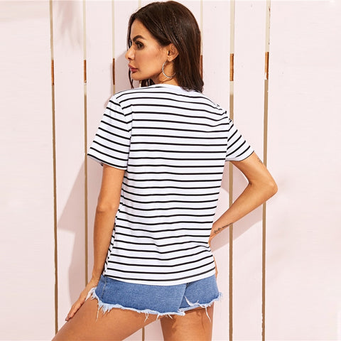 Basic Cactus Embroidered Striped Tee