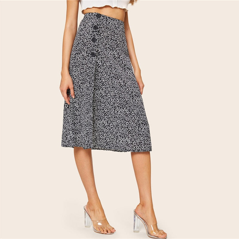 Floral Button Side Split Thigh High Waist Skirt