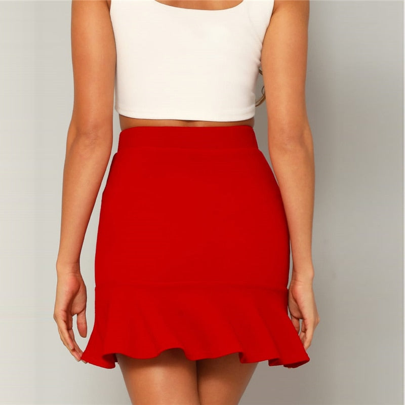 Red Bright Flounce Ruffle Hem Solid Above Knee Skirt