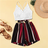 Sets Sexy Criss Cross Tied Bow Back Crop Lace Camisole With Stripes Shorts