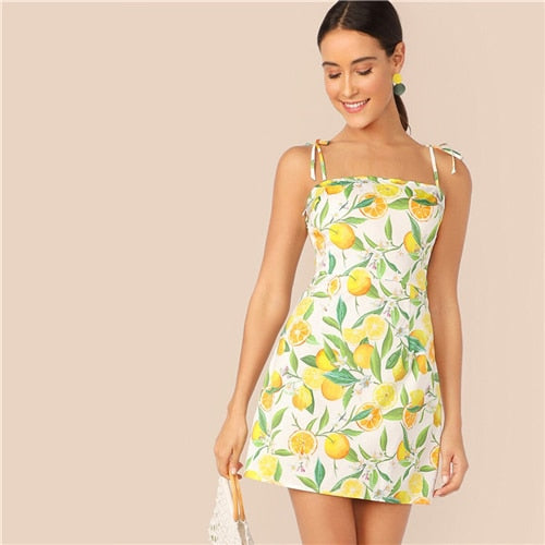 Zip Side Knot Shoulder Fruit Print Slip Boho Spaghetti Short Dresses