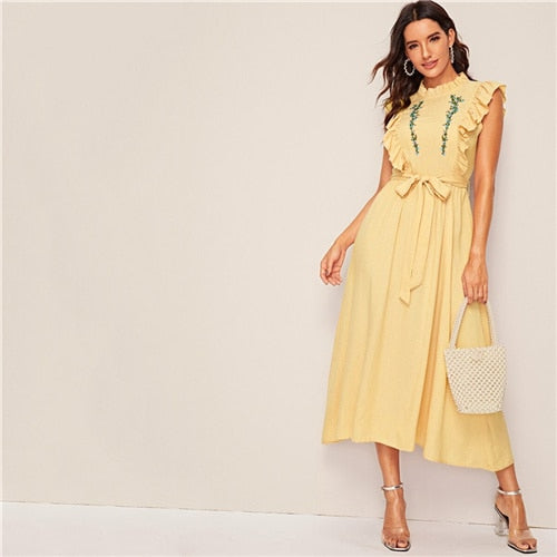 Mock Neck Ruffle Trim Flower Embroidered Belted Dress