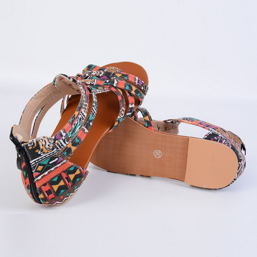 Flat Shoes Bohemian Roman Sandal Boho Back Zipper Sandal