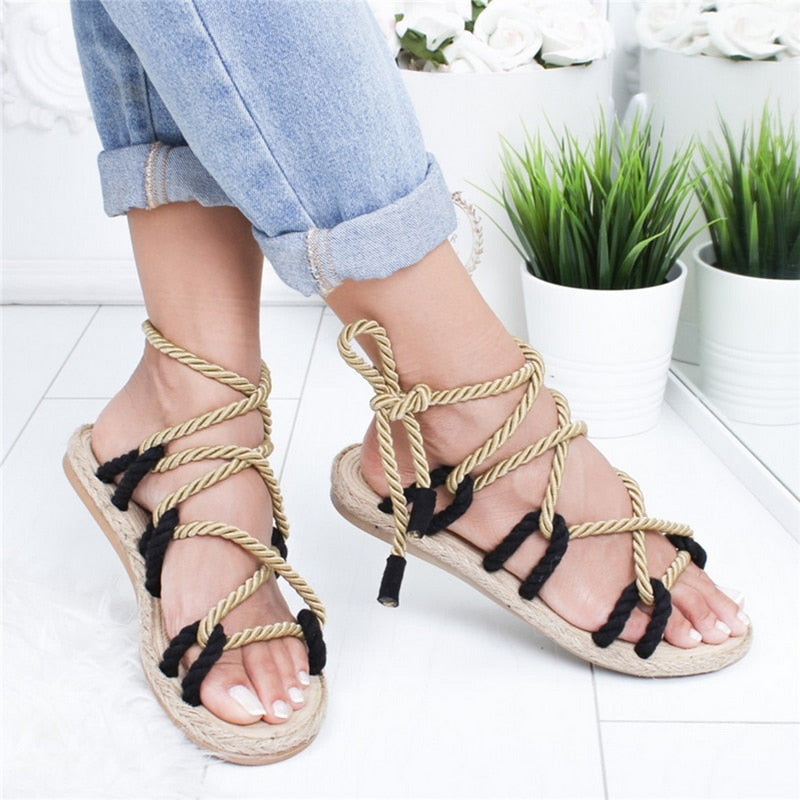 Lace Up Boho Hemp Rope Rome Sandals