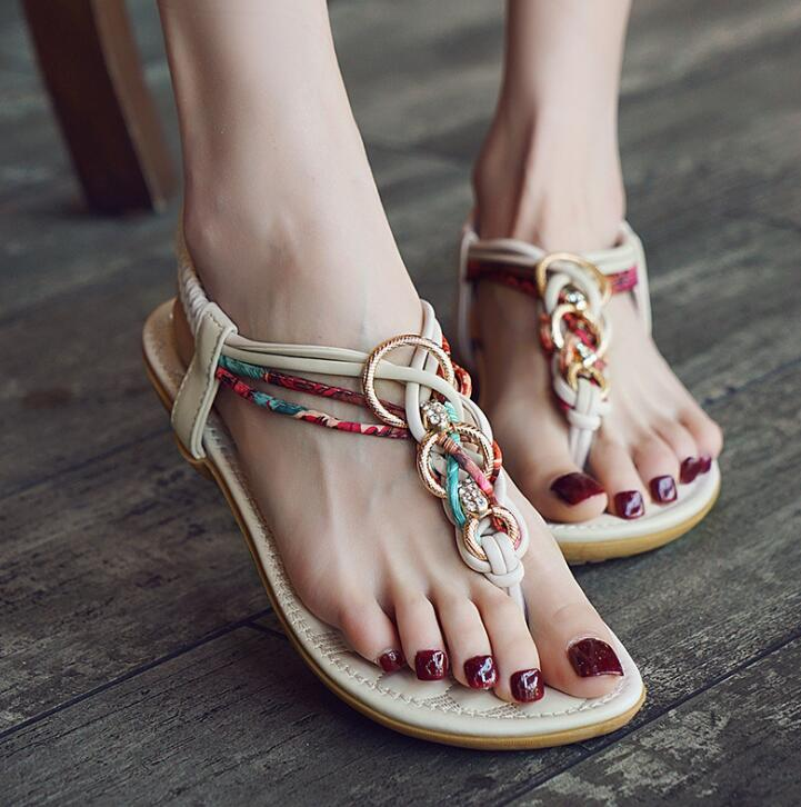 Ethnic Gladiator Back Strap Buckle Flip Flops Crystal Boho Shoes