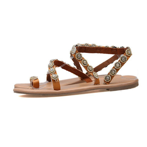 New Fashion Ladies Sandals Boho Rhinestone Casual Falts Shoes