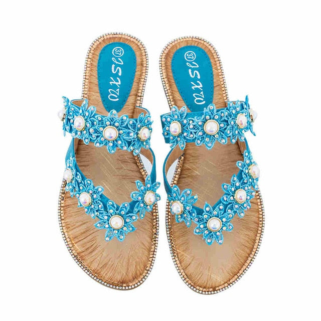 Flat Sandals Women Boho Bohemia Sandals Pearl Flower