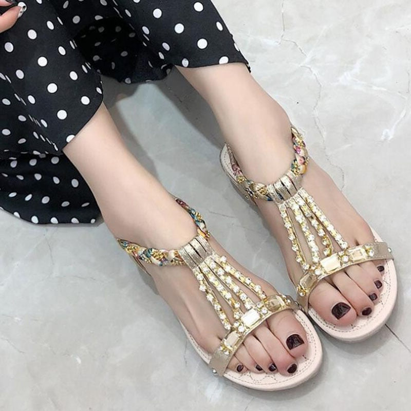 Summer Ethnic Rivet Crystal Gladiator Rome Flat Sandals