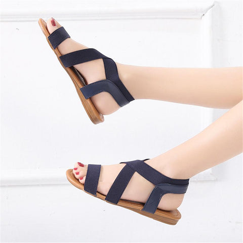 Comfortable Flat Sandals with Elastic Strap Durable Slip  Boho Cushion Shoes